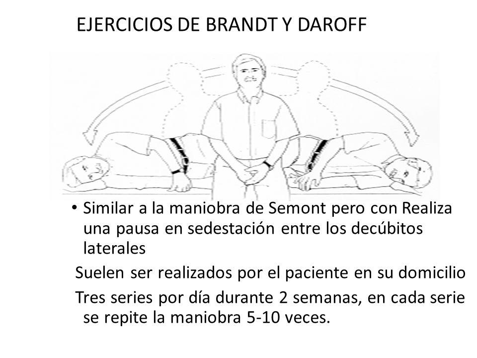 EJERCICIOS DE BRANDT Y DAROFF Similar a la maniobra de Semont pero con Realiza una pausa en sedestación entre los decúbitos laterales Suelen ser reali