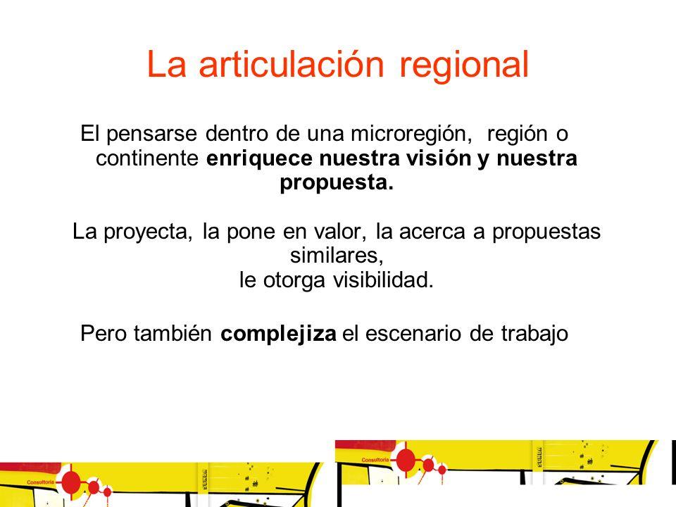 La articulación regional El pensarse dentro de una microregión, región o continente enriquece nuestra visión y nuestra propuesta. La proyecta, la pone