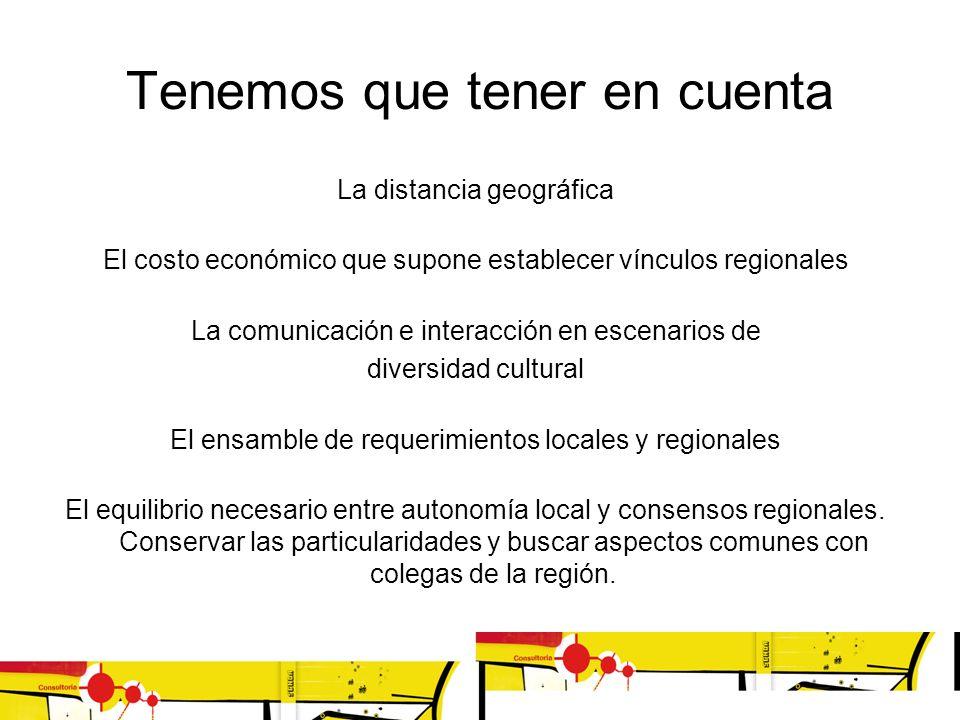 Tenemos que tener en cuenta La distancia geográfica El costo económico que supone establecer vínculos regionales La comunicación e interacción en esce