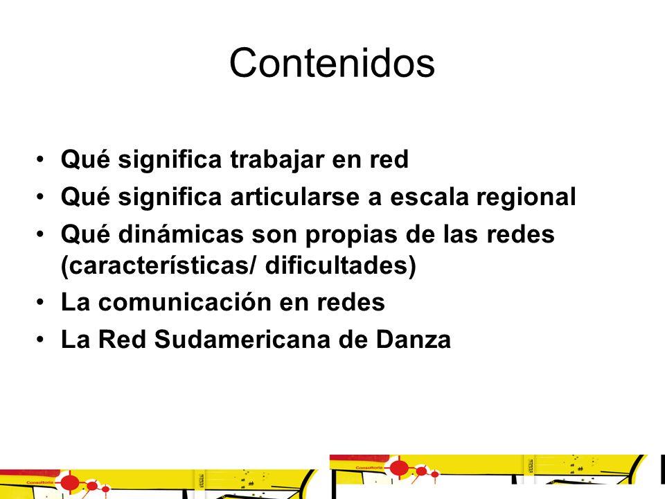 Contenidos Qué significa trabajar en red Qué significa articularse a escala regional Qué dinámicas son propias de las redes (características/ dificult