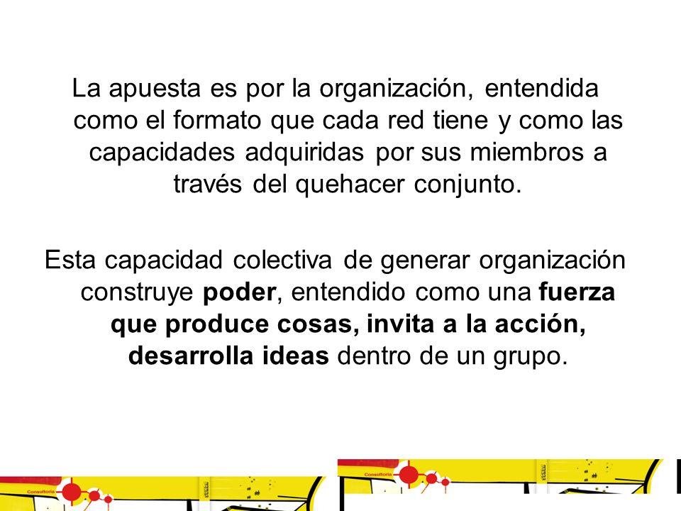 La apuesta es por la organización, entendida como el formato que cada red tiene y como las capacidades adquiridas por sus miembros a través del quehac