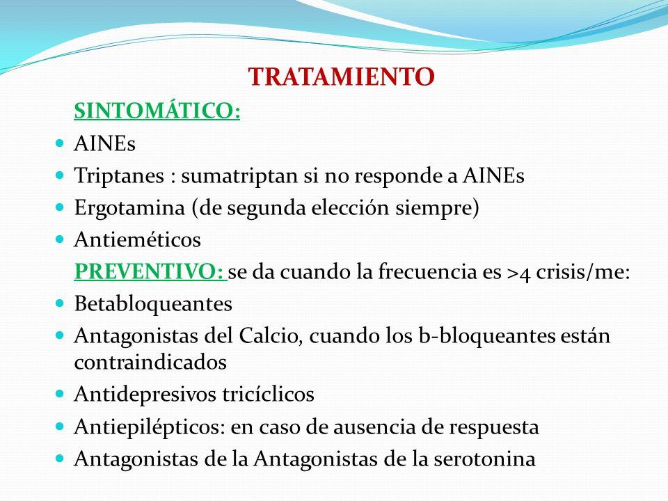 TRATAMIENTO SINTOMÁTICO: AINEs Triptanes : sumatriptan si no responde a AINEs Ergotamina (de segunda elección siempre) Antieméticos PREVENTIVO: se da