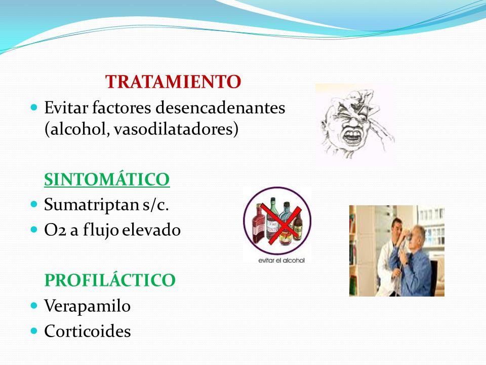 TRATAMIENTO Evitar factores desencadenantes (alcohol, vasodilatadores) SINTOMÁTICO Sumatriptan s/c. O2 a flujo elevado PROFILÁCTICO Verapamilo Cortico