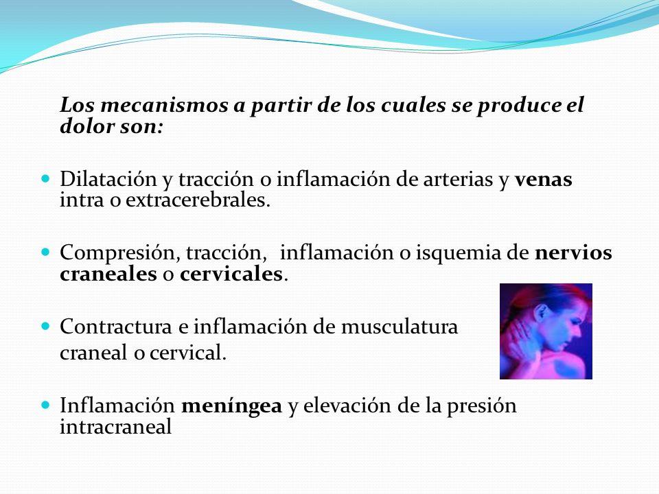Los mecanismos a partir de los cuales se produce el dolor son: Dilatación y tracción o inflamación de arterias y venas intra o extracerebrales. Compre