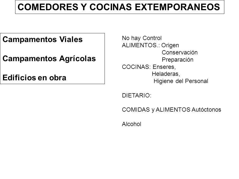 COMEDORES Y COCINAS EXTEMPORANEOS Campamentos Viales Campamentos Agrícolas Edificios en obra No hay Control ALIMENTOS.: Origen Conservación Preparació