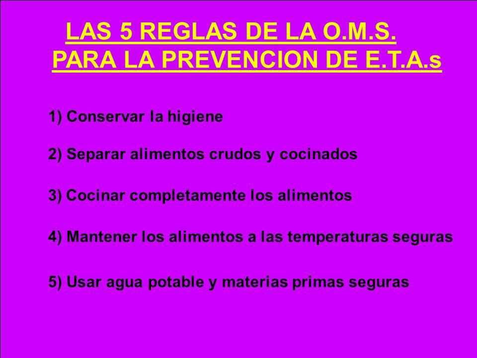 LAS 5 REGLAS DE LA O.M.S. PARA LA PREVENCION DE E.T.A.s 1) Conservar la higiene 2) Separar alimentos crudos y cocinados 4) Mantener los alimentos a la