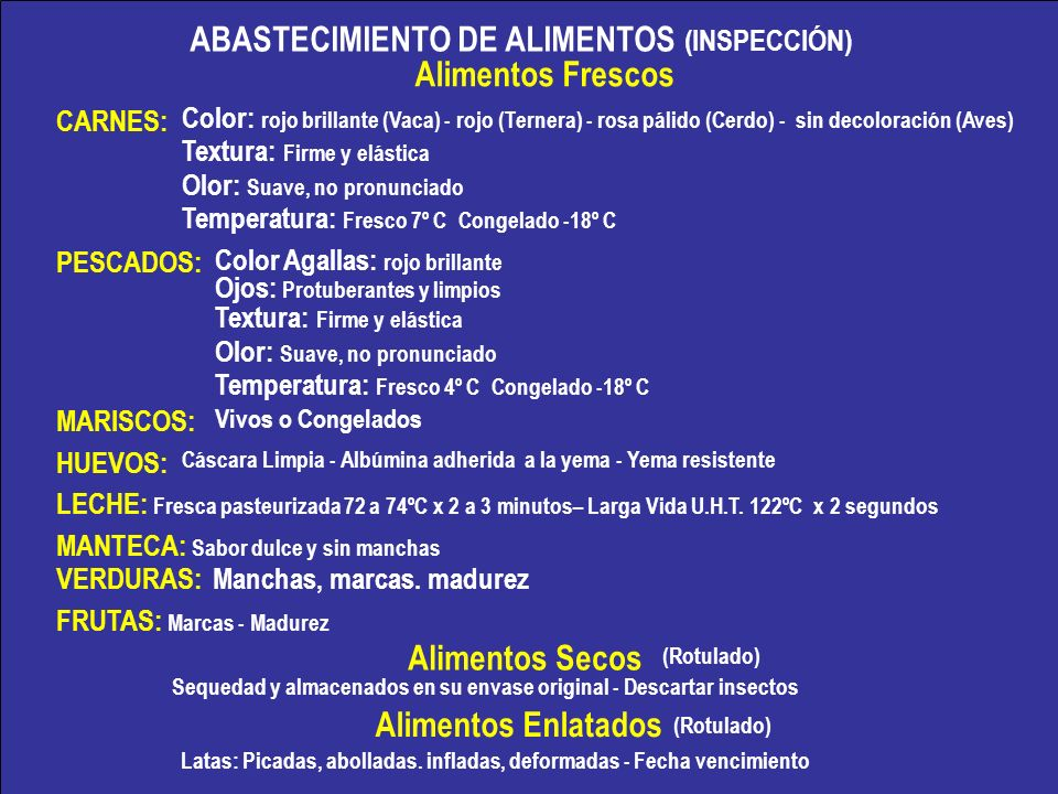 ABASTECIMIENTO DE ALIMENTOS (INSPECCIÓN) Alimentos Frescos CARNES: PESCADOS: MARISCOS: HUEVOS: LECHE: Fresca pasteurizada 72 a 74ºC x 2 a 3 minutos– L