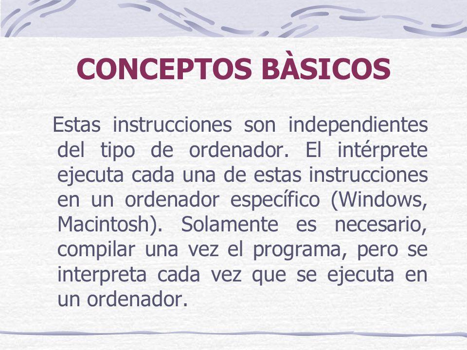 CONCEPTOS BÀSICOS Estas instrucciones son independientes del tipo de ordenador.
