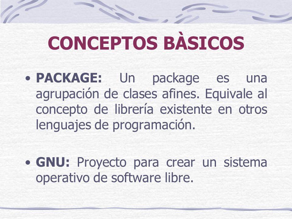 CONCEPTOS BÀSICOS PACKAGE: Un package es una agrupación de clases afines.