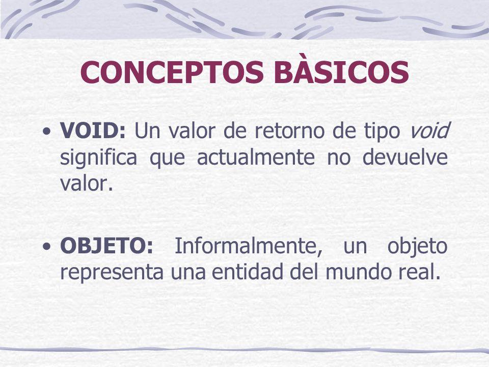 CONCEPTOS BÀSICOS VOID: Un valor de retorno de tipo void significa que actualmente no devuelve valor.