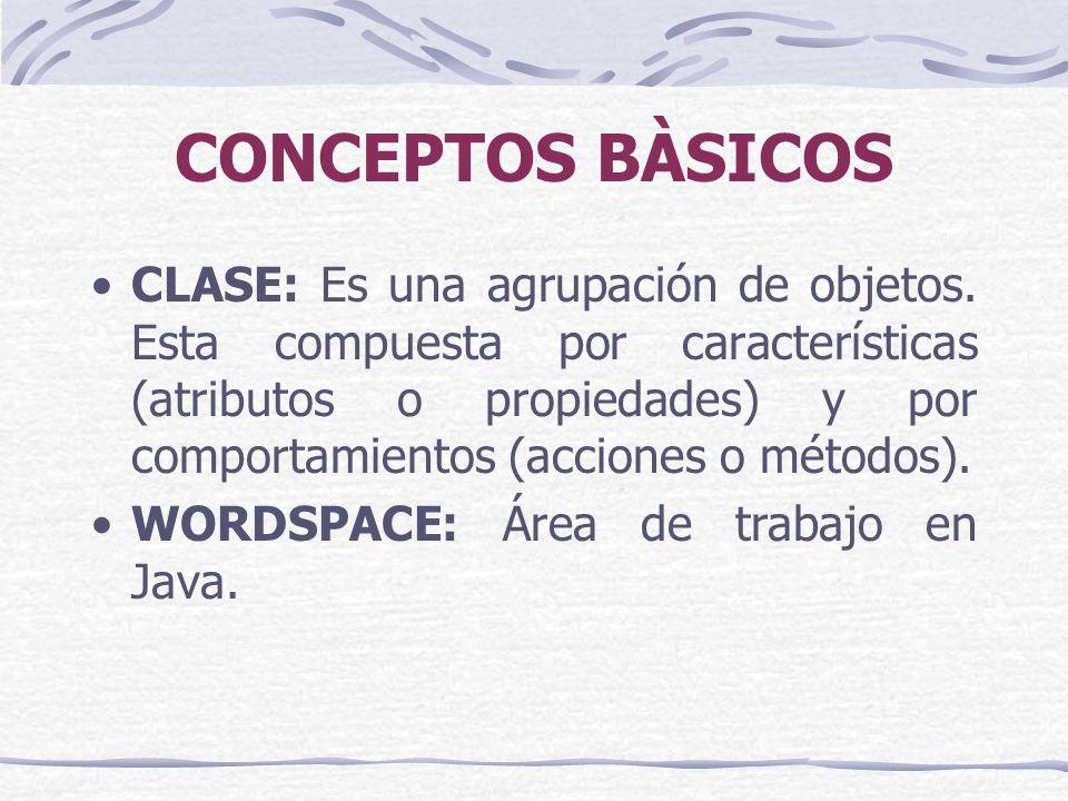 CONCEPTOS BÀSICOS CLASE: Es una agrupación de objetos.