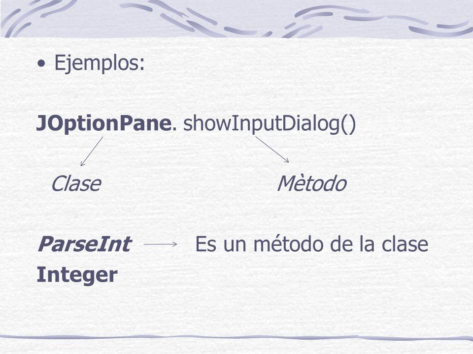 Ejemplos: JOptionPane. showInputDialog() Clase Mètodo ParseInt Es un método de la clase Integer