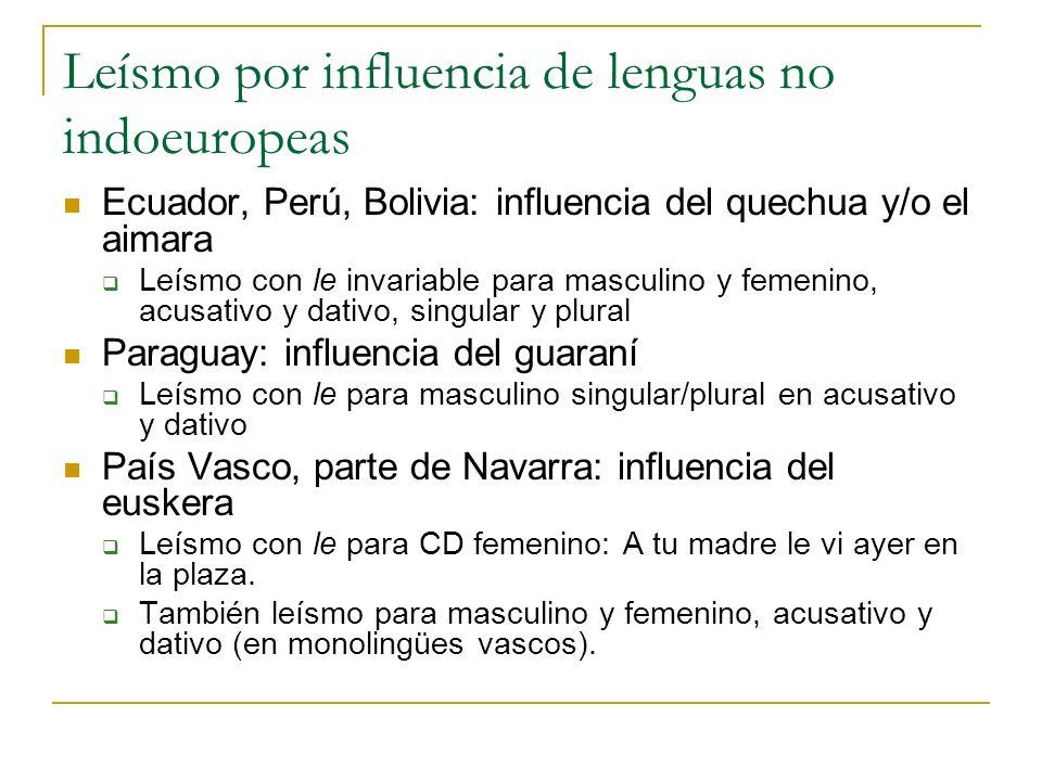 Leísmo por influencia de lenguas no indoeuropeas Ecuador, Perú, Bolivia: influencia del quechua y/o el aimara Leísmo con le invariable para masculino