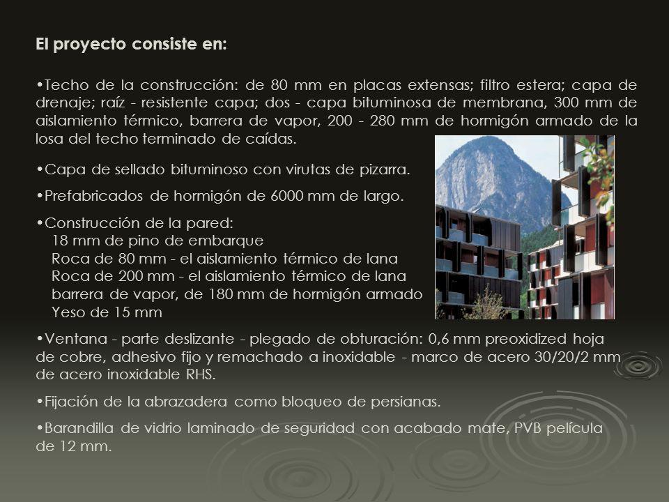 Los esquemas de los pisos en cada bloques A y B y en los bloques D y E son idénticos. El edificio central, bloque C, contiene las viviendas de los alt