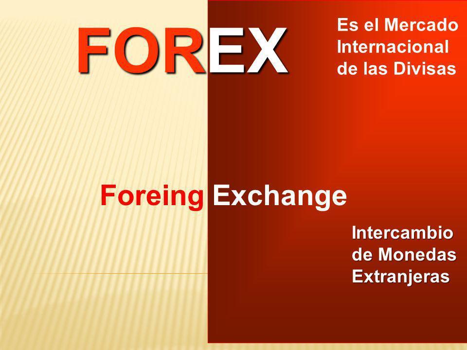 FOREX Es el Mercado Internacional de las Divisas Foreing Exchange Intercambio de Monedas Extranjeras