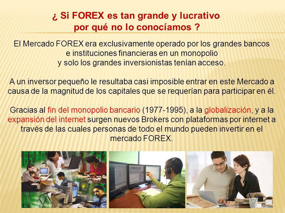 El Mercado FOREX era exclusivamente operado por los grandes bancos e instituciones financieras en un monopolio y solo los grandes inversionistas tenía