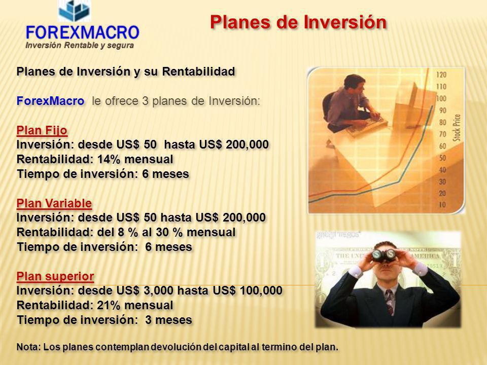 Planes de Inversión Planes de Inversión y su Rentabilidad ForexMacro le ofrece 3 planes de Inversión: Plan Fijo Inversión: desde US$ 50 hasta US$ 200,