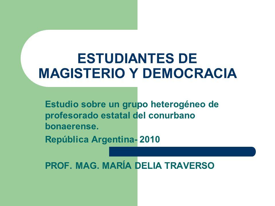 ESTUDIANTES DE MAGISTERIO Y DEMOCRACIA Estudio sobre un grupo heterogéneo de profesorado estatal del conurbano bonaerense.