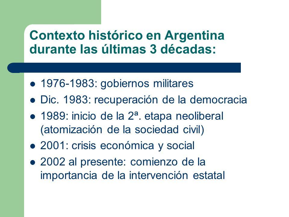 Contexto histórico en Argentina durante las últimas 3 décadas: 1976-1983: gobiernos militares Dic. 1983: recuperación de la democracia 1989: inicio de