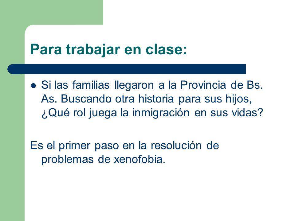 Para trabajar en clase: Si las familias llegaron a la Provincia de Bs.