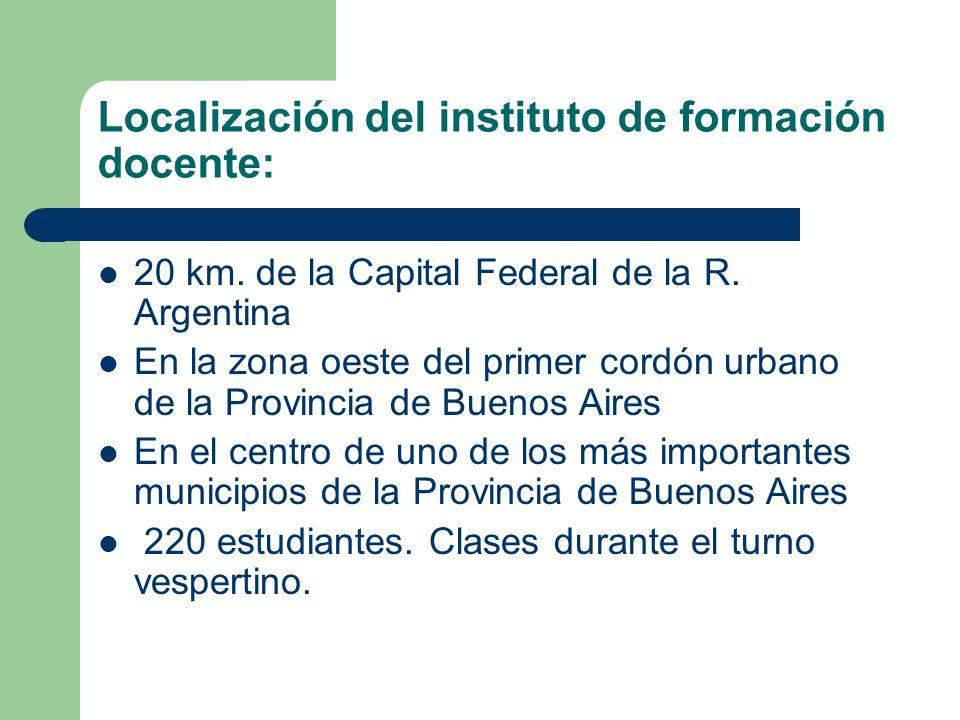 Localización del instituto de formación docente: 20 km.