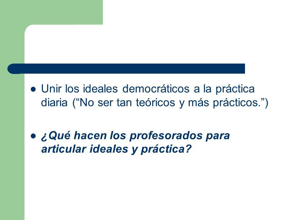 Unir los ideales democráticos a la práctica diaria (No ser tan teóricos y más prácticos.) ¿Qué hacen los profesorados para articular ideales y práctica