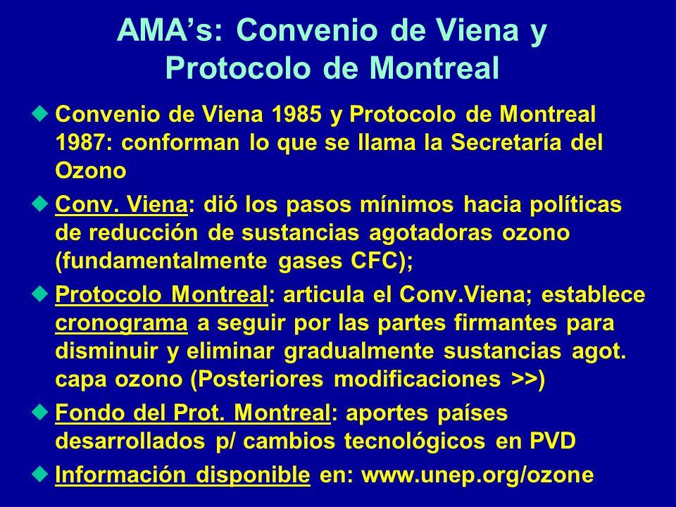Convenio de Viena 1985 y Protocolo de Montreal 1987: conforman lo que se llama la Secretaría del Ozono Conv. Viena: dió los pasos mínimos hacia políti