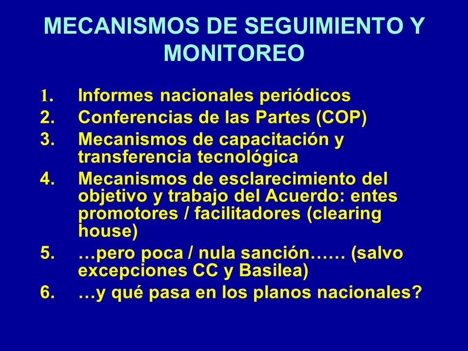MECANISMOS DE SEGUIMIENTO Y MONITOREO 1. Informes nacionales periódicos 2. Conferencias de las Partes (COP) 3. Mecanismos de capacitación y transferen