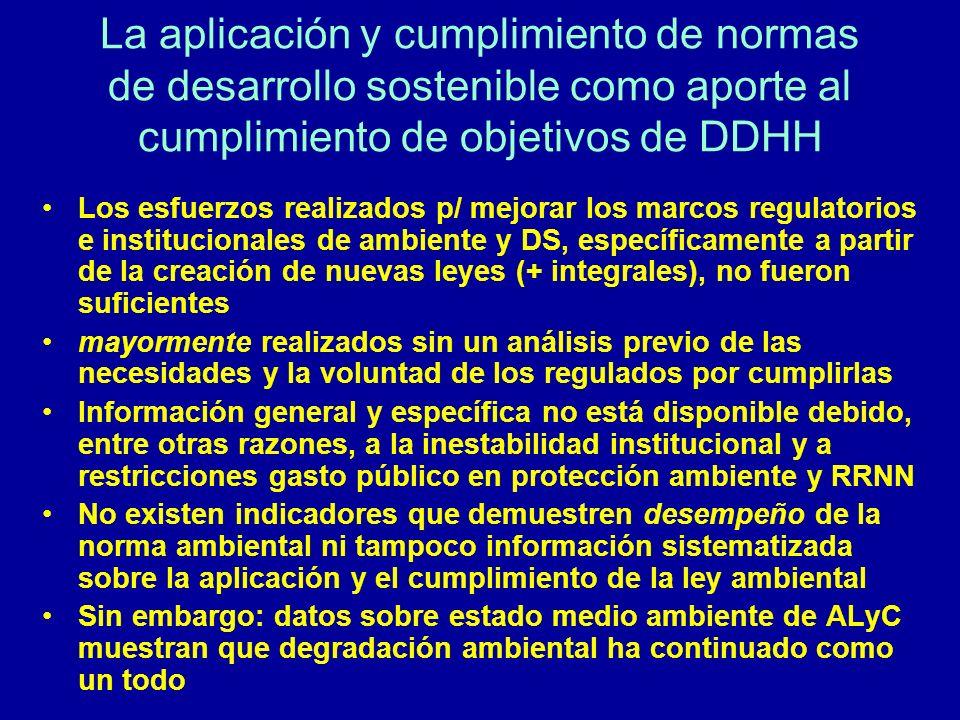 La aplicación y cumplimiento de normas de desarrollo sostenible como aporte al cumplimiento de objetivos de DDHH Los esfuerzos realizados p/ mejorar l