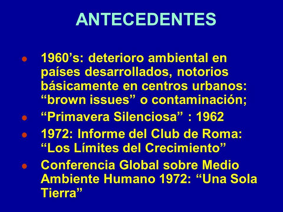 ANTECEDENTES l 1960s: deterioro ambiental en países desarrollados, notorios básicamente en centros urbanos: brown issues o contaminación; l Primavera