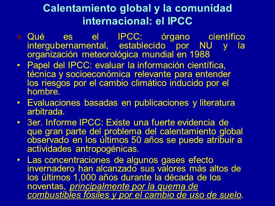 Calentamiento global y la comunidad internacional: el IPCC Qué es el IPCC: órgano científico intergubernamental, establecido por NU y la organización