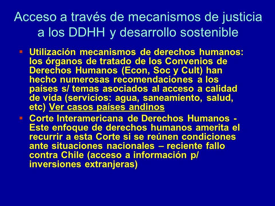Acceso a través de mecanismos de justicia a los DDHH y desarrollo sostenible Utilización mecanismos de derechos humanos: los órganos de tratado de los
