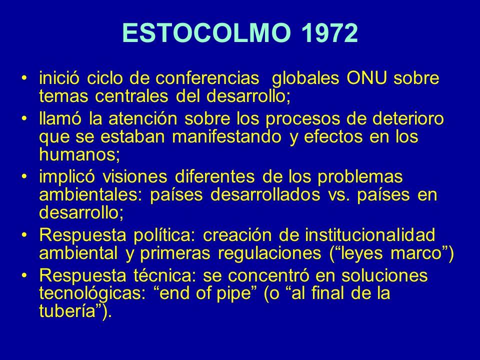 OTROS ANTECEDENTES l 1974: Conferencia sobre Población l 1976: Conferencia s/ Asentamientos Humanos l 1980s: se inicia reflexión mundial sobre problemas ambientales globales (ozono, mares, calentamiento global, lluvia ácida migrante, residuos peligrosos) l 1980: Estrategia Mundial de la IUCN sobre Conservación (green issues) l 1984: Asamblea General ONU conforma Comisión Mundial sobre el Medio Ambiente y el Desarrollo, que elabora: l 1987: Informe Bruntland: Nuestro Futuro Común