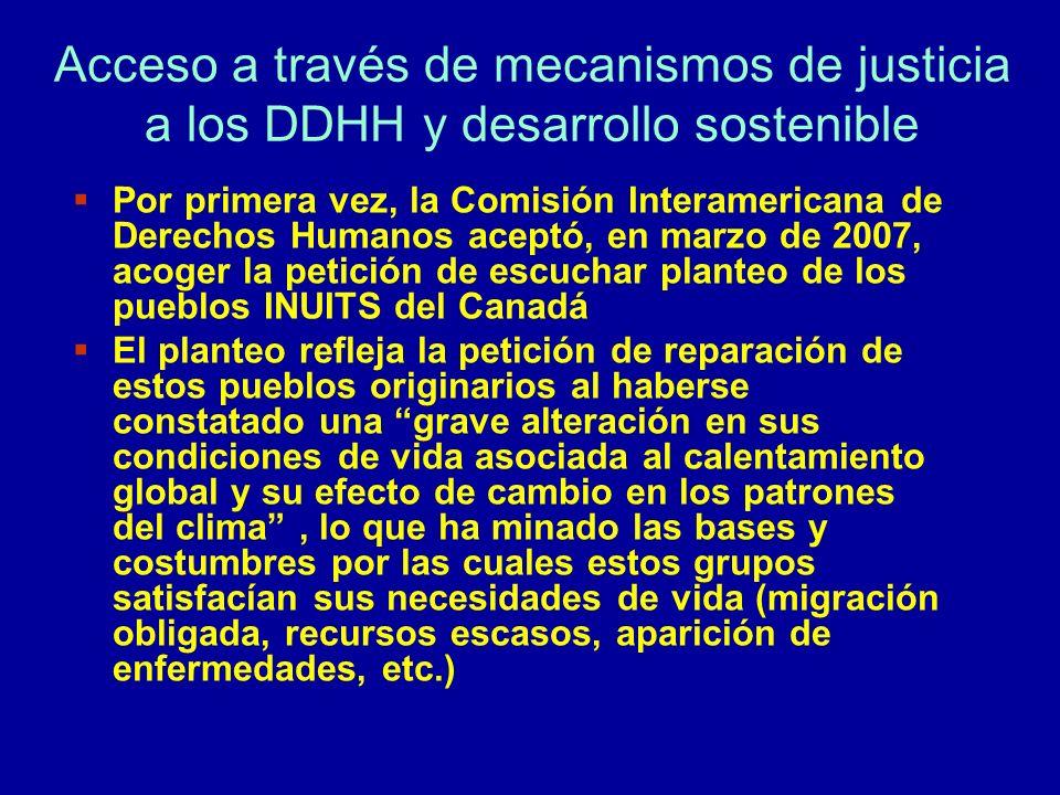 Acceso a través de mecanismos de justicia a los DDHH y desarrollo sostenible Por primera vez, la Comisión Interamericana de Derechos Humanos aceptó, e