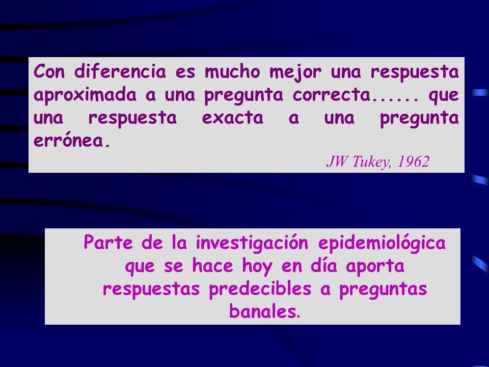 Con diferencia es mucho mejor una respuesta aproximada a una pregunta correcta...... que una respuesta exacta a una pregunta errónea. JW Tukey, 1962 P