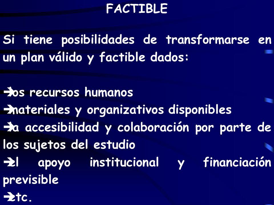 FACTIBLE Si tiene posibilidades de transformarse en un plan válido y factible dados: èlos recursos humanos èmateriales y organizativos disponibles èla