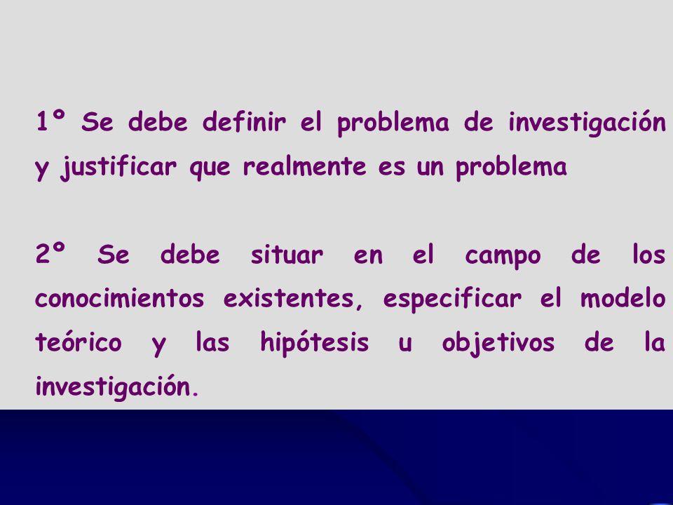 1º Se debe definir el problema de investigación y justificar que realmente es un problema 2º Se debe situar en el campo de los conocimientos existente