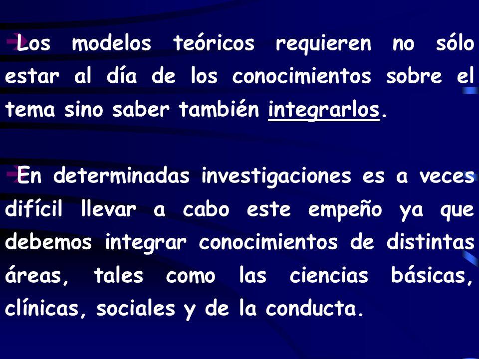 è Los modelos teóricos requieren no sólo estar al día de los conocimientos sobre el tema sino saber también integrarlos. è En determinadas investigaci