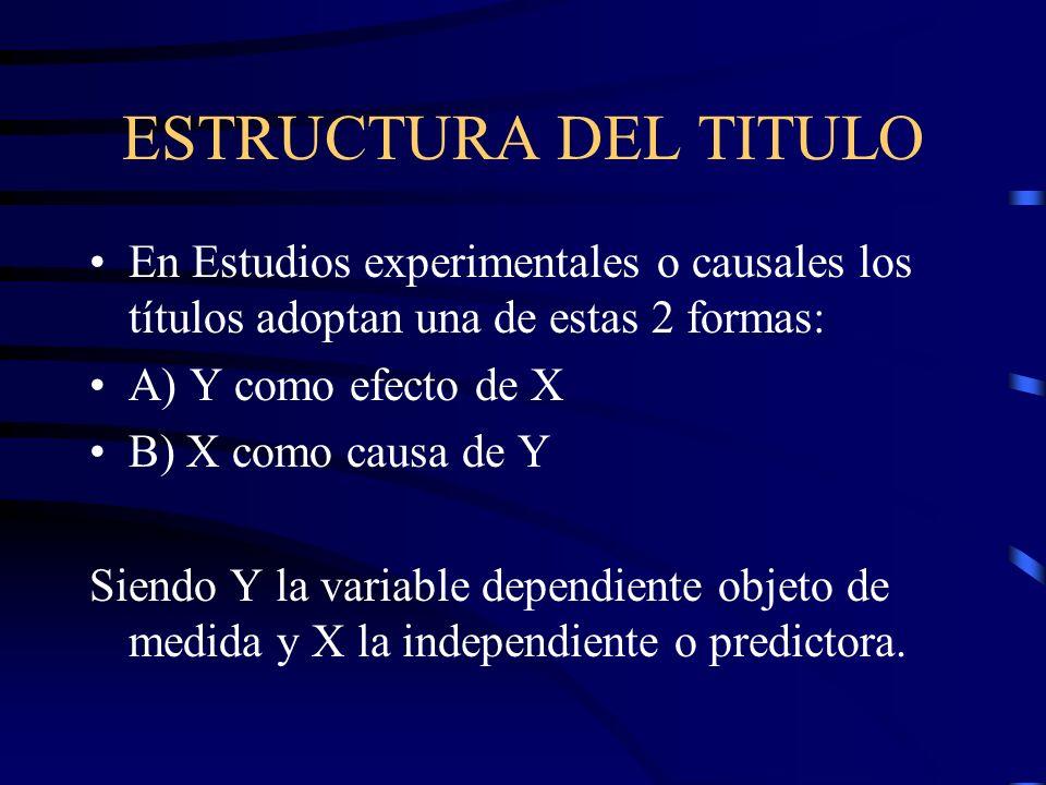 ESTRUCTURA DEL TITULO En Estudios experimentales o causales los títulos adoptan una de estas 2 formas: A) Y como efecto de X B) X como causa de Y Sien