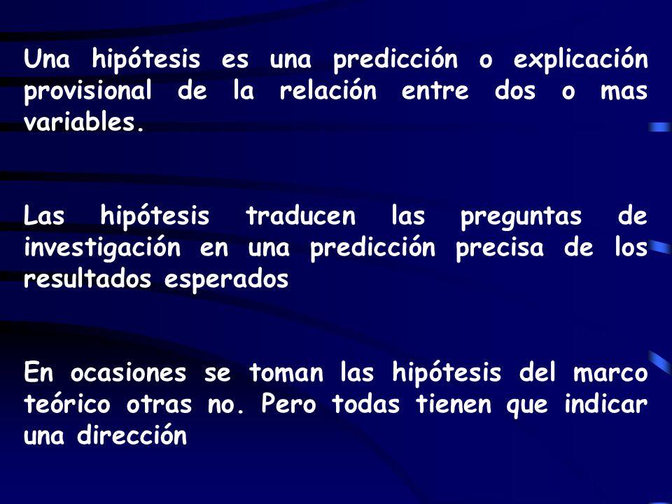 Una hipótesis es una predicción o explicación provisional de la relación entre dos o mas variables. Las hipótesis traducen las preguntas de investigac