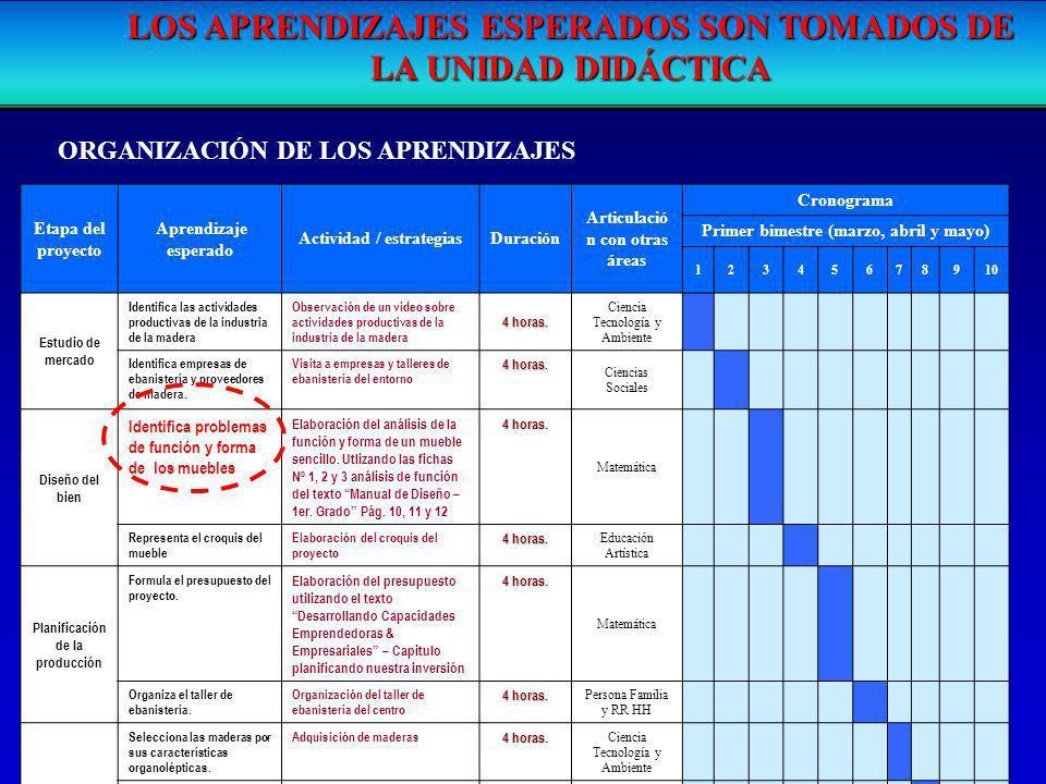 Etapa del proyecto Aprendizaje esperado Actividad / estrategiasDuración Articulació n con otras áreas Cronograma Primer bimestre (marzo, abril y mayo)