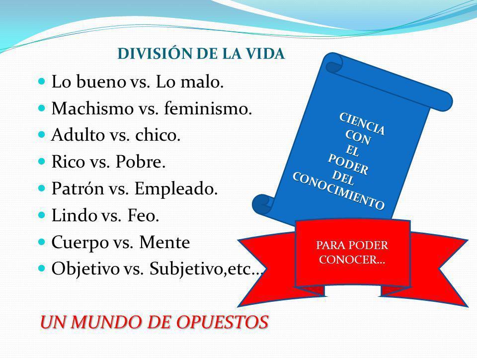 DIVISIÓN DE LA VIDA Lo bueno vs. Lo malo. Machismo vs. feminismo. Adulto vs. chico. Rico vs. Pobre. Patrón vs. Empleado. Lindo vs. Feo. Cuerpo vs. Men