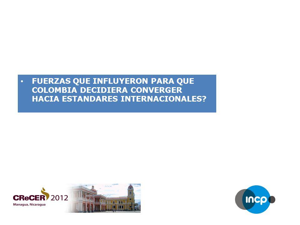 FUERZAS QUE INFLUYERON PARA QUE COLOMBIA DECIDIERA CONVERGER HACIA ESTANDARES INTERNACIONALES