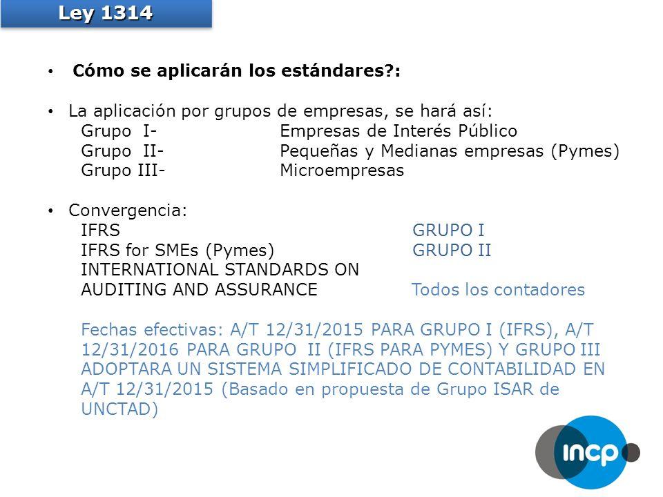Cómo se aplicarán los estándares : La aplicación por grupos de empresas, se hará así: Grupo I-Empresas de Interés Público Grupo II-Pequeñas y Medianas empresas (Pymes) Grupo III-Microempresas Convergencia: IFRSGRUPO I IFRS for SMEs (Pymes)GRUPO II INTERNATIONAL STANDARDS ON AUDITING AND ASSURANCE Todos los contadores Fechas efectivas: A/T 12/31/2015 PARA GRUPO I (IFRS), A/T 12/31/2016 PARA GRUPO II (IFRS PARA PYMES) Y GRUPO III ADOPTARA UN SISTEMA SIMPLIFICADO DE CONTABILIDAD EN A/T 12/31/2015 (Basado en propuesta de Grupo ISAR de UNCTAD) Ley 1314
