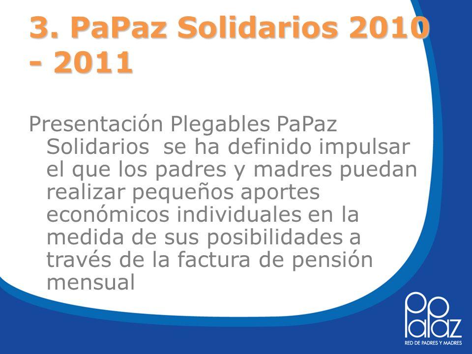 3. PaPaz Solidarios 2010 - 2011 Presentación Plegables PaPaz Solidarios se ha definido impulsar el que los padres y madres puedan realizar pequeños ap