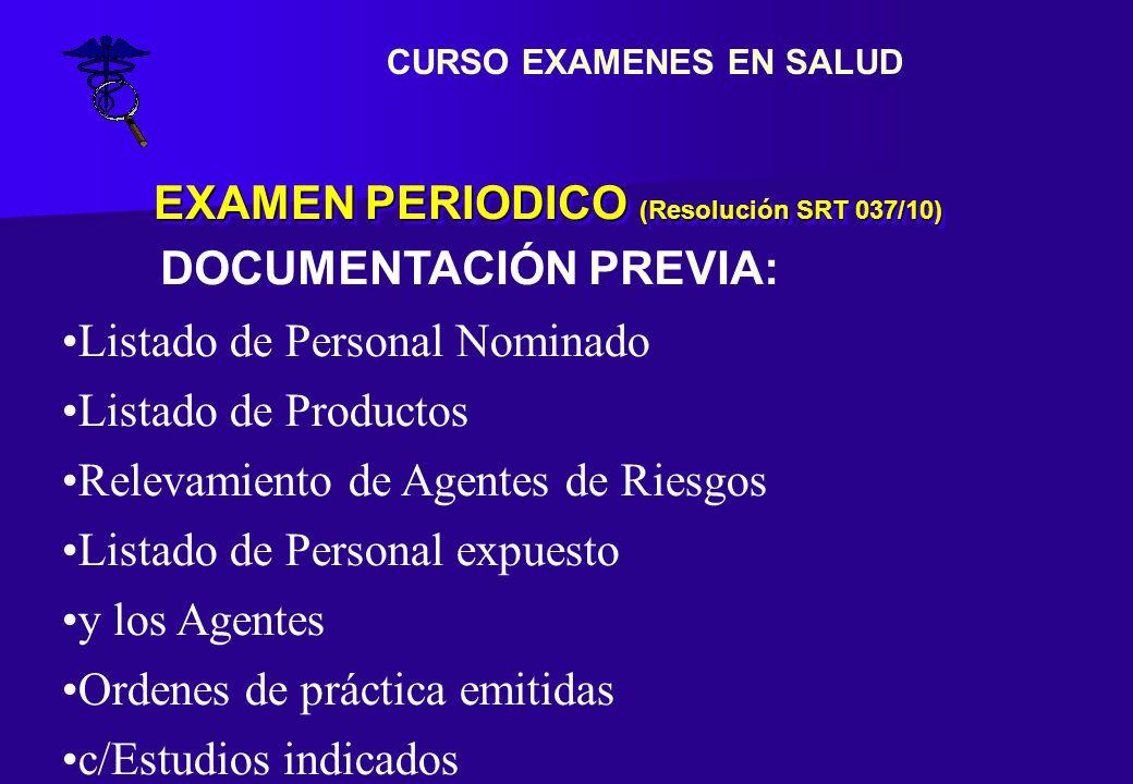 EXAMEN PERIODICO (Resolución SRT 037/10) Listado de Personal Nominado Listado de Productos Relevamiento de Agentes de Riesgos Listado de Personal expu