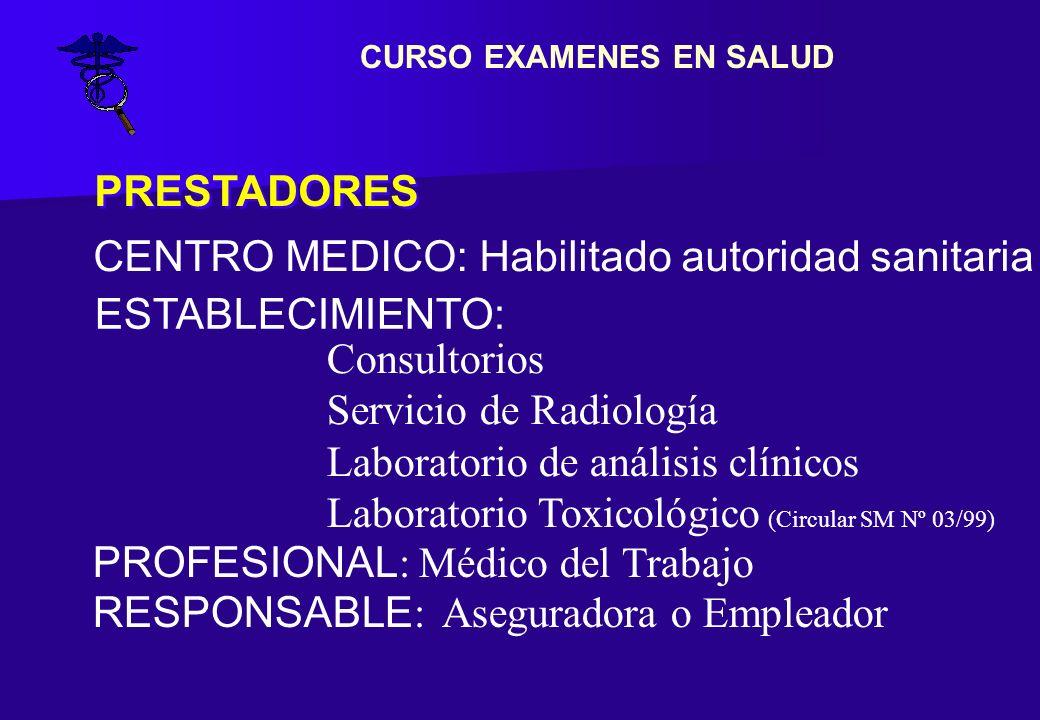 PRESTADORES ESTABLECIMIENTO: CENTRO MEDICO: Habilitado autoridad sanitaria Consultorios Servicio de Radiología Laboratorio de análisis clínicos Labora