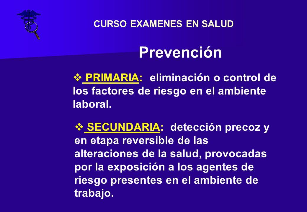 EXAMEN PERIODICO (Resolución 37/10) CARACTER: Obligatorio ante exposición - Examen Físico - Estudios específicos -IBE - Examen con orientación -Interrogatorio dirigido OBJETIVO: Detección precoz de Enf.