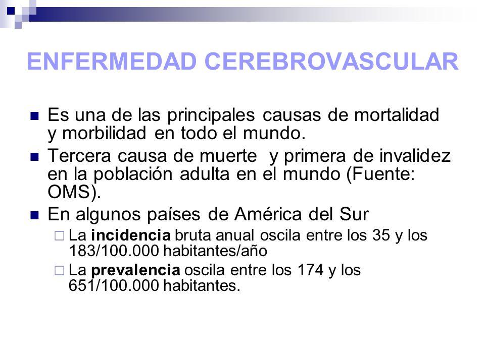 ENFERMEDAD CEREBROVASCULAR Es una de las principales causas de mortalidad y morbilidad en todo el mundo. Tercera causa de muerte y primera de invalide