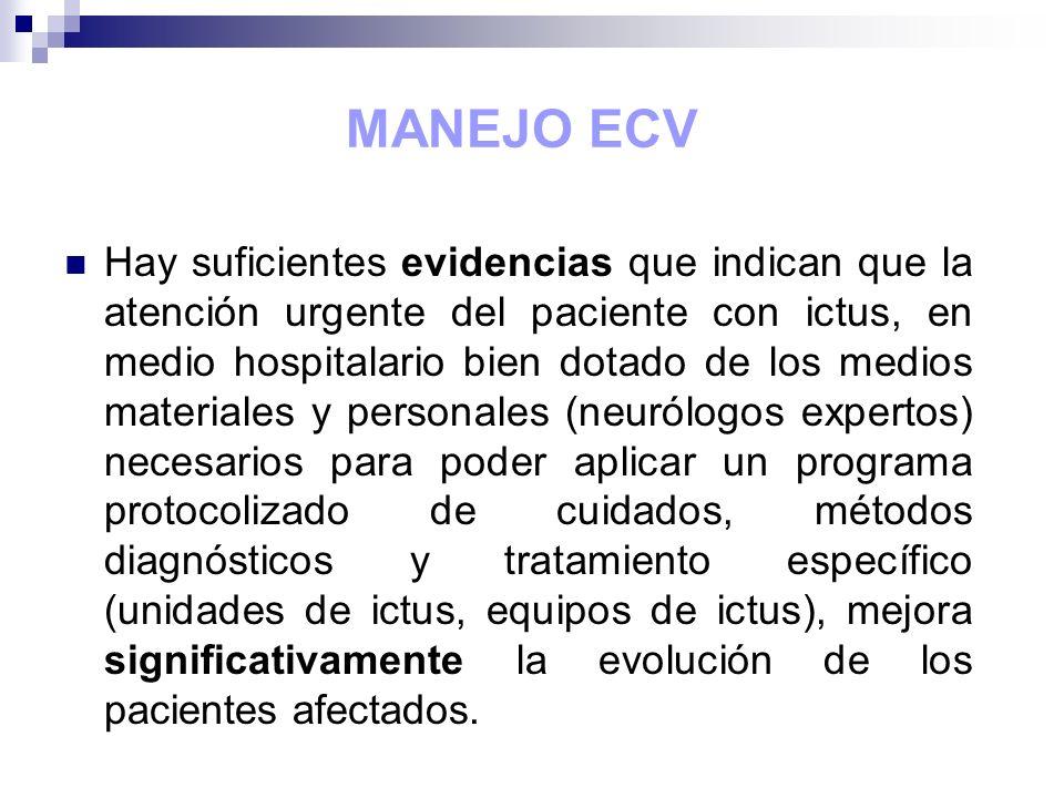 MANEJO ECV Hay suficientes evidencias que indican que la atención urgente del paciente con ictus, en medio hospitalario bien dotado de los medios mate